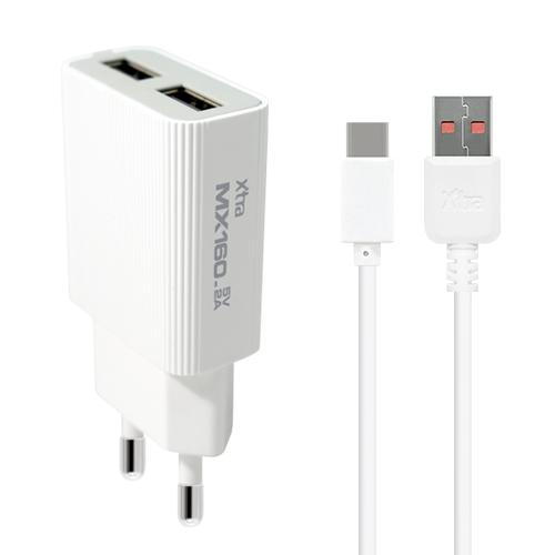 엑스트라 MX160 듀얼 USB 가정용 충전기 - C타입 5V2A